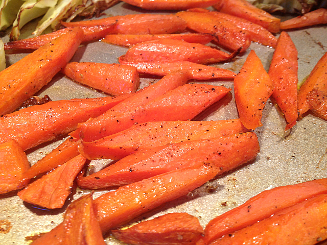Roasted Carrots Cabbage - carrots