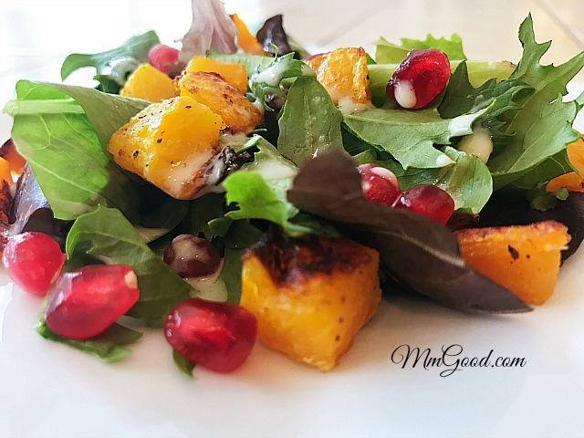 roasted-butternut-squash-pomegranate-tahini-salad