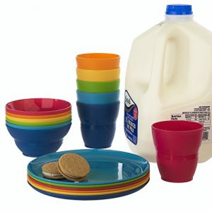 18pc-Ellie-Kids-Plastic-Tumblers-Snack-Bowls-Snack-Plates-in-6-Colors-0