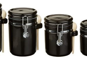 Anchor-Hocking-4-Piece-Black-Ceramic-Clamp-Top-Canister-Set-with-Wooden-Spoons-0
