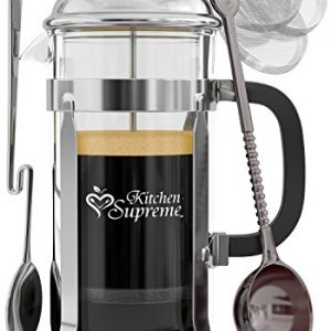 French-Press-Coffee-Tea-Maker-Complete-Bundle-34-Oz-Best-Coffee-Press-Pot-with-Stainless-Steel-Double-German-Glass-0