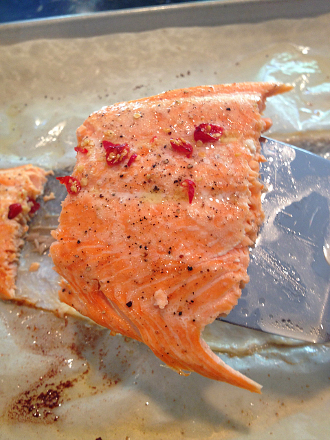 Baked Salmon sliced