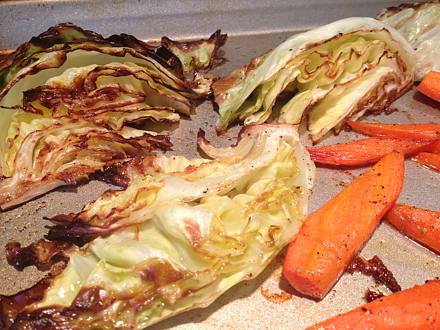 Roasted Carrots Cabbage - baked