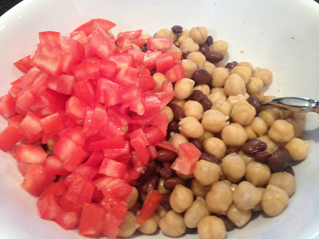 Chickpea Salad - beans and tomato