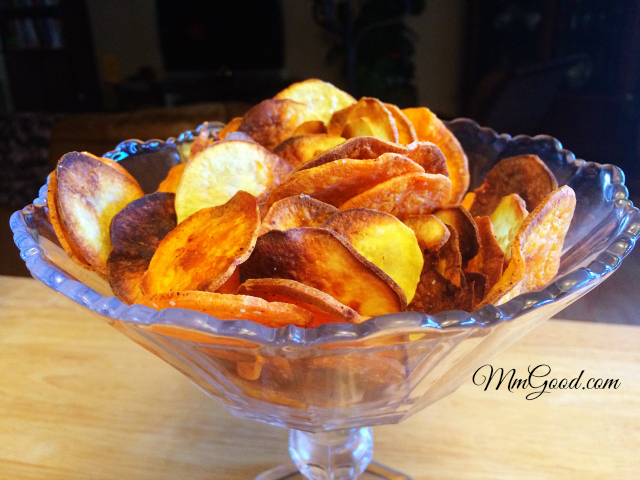 baked yam chips in a bowl