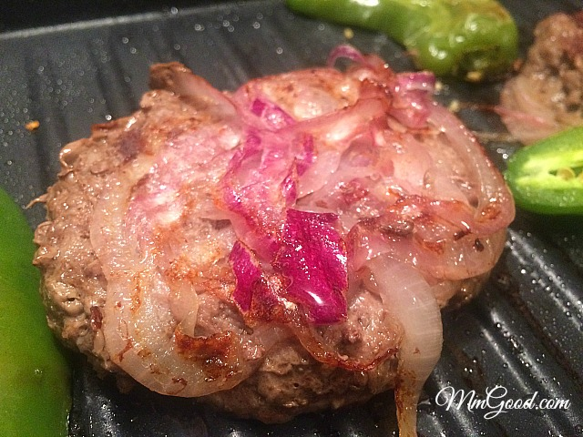 Burger with grilled onions