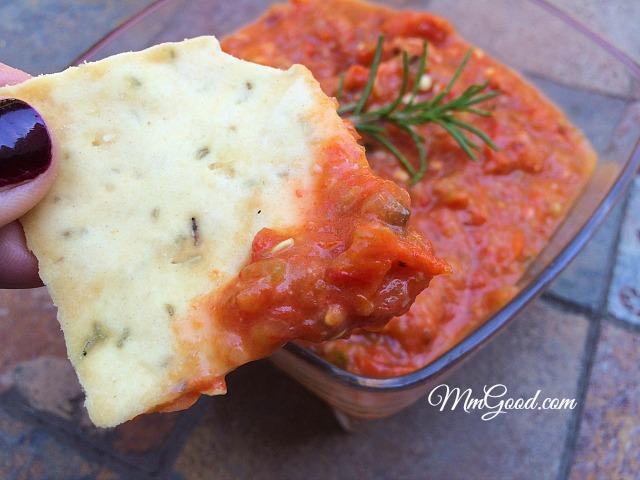 salsa on a cracker